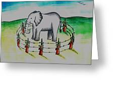 Plight Of Elephants Greeting Card by Tanmay Singh