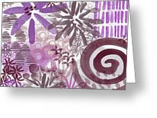 Plum And Grey Garden- Abstract Flower Painting Greeting Card