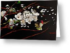 Plum Blossoms And Anna's Hummingbird Greeting Card