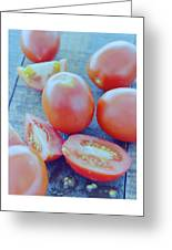 Plum Tomatoes On A Wooden Board Greeting Card