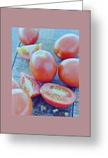 Plum Tomatoes On A Wooden Board Greeting Card by Romulo Yanes