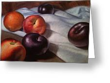 Plums And Nectarines Greeting Card by Timothy Jones