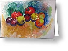 Plums Lemons Tomatoes Greeting Card by Vladimir Kezerashvili