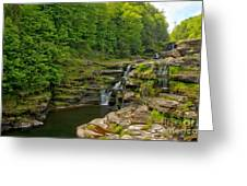 Poconos Ledges Waterfall Greeting Card