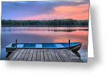 Poconos Lake Whitney Sunset Rowboat Greeting Card