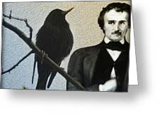 Poe And The Raven Greeting Card