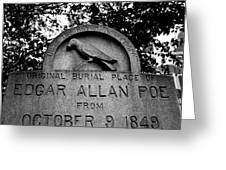Poe's Original Burial Place Greeting Card