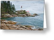 Point Atkinson Lighthouse And Rocky Shore Greeting Card