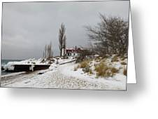 Point Betsie In Winter Greeting Card