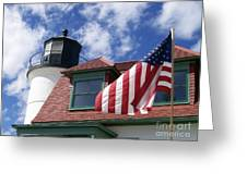 Point Betsie Lighthouse With Flag Greeting Card