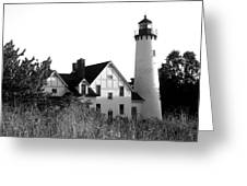 Point Iroquois Lighthouse In B/w Greeting Card by Sharon McLain
