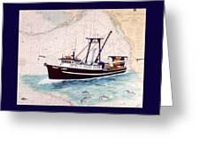 Point Loma Trawl Fishing Boat Nautical Chart Map Art Greeting Card