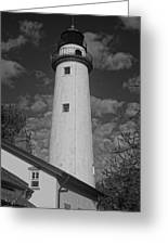 Pointe Aux Barques Lighthouse Black And White Greeting Card