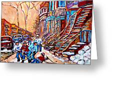 Pointe St.charles Hockey Game Near Winding Staircases Montreal Winter City Scenes Greeting Card