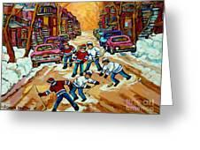 Pointe St.charles Hockey Game Winter Street Scenes Paintings Greeting Card