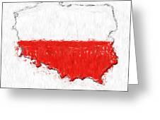 Poland Painted Flag Map Greeting Card