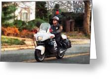 Police - Motorcycle Cop On Patrol Greeting Card
