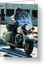 Police - Motorcycle Cop Greeting Card