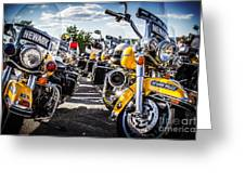 Police Motorcycle Lineup Greeting Card