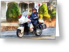 Police - Suburban Motorcycle Cop Greeting Card