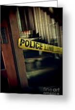 Police Tape Blocking Bloody Stairs Greeting Card