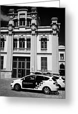 policia guardia urbana patrol cars outside estacio del nord station Barcelona Catalonia Spain Greeting Card