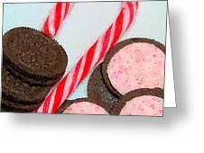 Polka Dot Candy Cane Cookies Greeting Card