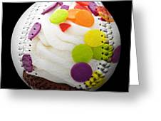 Polka Dot Cupcake Baseball Square Greeting Card