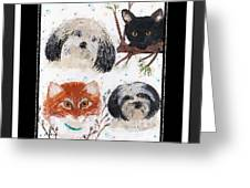 Polka Dot Family Pets With Borders - Whimsical Art Greeting Card