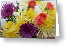Polka Dot Mums And Carnations Greeting Card