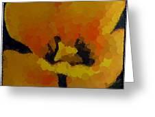 Polka Dot Yellow Blooming Tulip Greeting Card