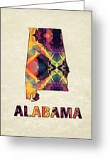 Polygon Mosaic Parchment Map Alabama Greeting Card