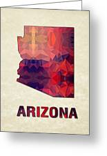 Polygon Mosaic Parchment Map Arizona Greeting Card