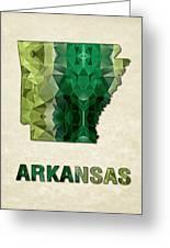 Polygon Mosaic Parchment Map Arkansas Greeting Card