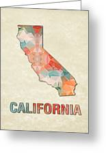Polygon Mosaic Parchment Map California Greeting Card
