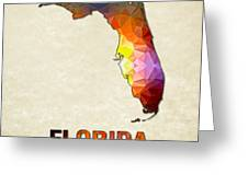Polygon Mosaic Parchment Map Florida Greeting Card