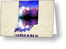 Polygon Mosaic Parchment Map Indiana Greeting Card