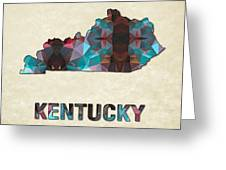Polygon Mosaic Parchment Map Kentucky Greeting Card