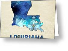 Polygon Mosaic Parchment Map Louisiana Greeting Card