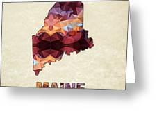 Polygon Mosaic Parchment Map Maine Greeting Card