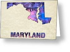 Polygon Mosaic Parchment Map Maryland Greeting Card