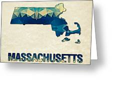 Polygon Mosaic Parchment Map Massachusetts Greeting Card
