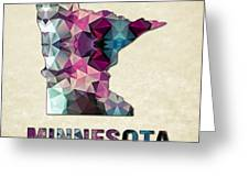Polygon Mosaic Parchment Map Minnesota Greeting Card