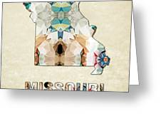 Polygon Mosaic Parchment Map Missouri Greeting Card