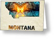 Polygon Mosaic Parchment Map Montana Greeting Card