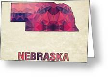 Polygon Mosaic Parchment Map Nebraska Greeting Card