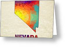 Polygon Mosaic Parchment Map Nevada Greeting Card