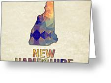 Polygon Mosaic Parchment Map New Hampshire Greeting Card