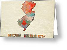 Polygon Mosaic Parchment Map New Jersey Greeting Card