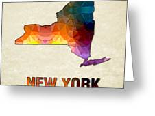 Polygon Mosaic Parchment Map New York Greeting Card